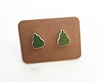 Hand Cut Mini Pear Studs