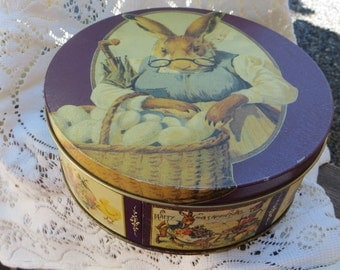 Easter Candy Tin Vintage Large and Round