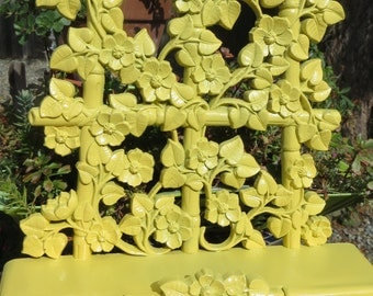Upcycled Vintage Homco Plastic Wall Hanging Trellis Shelf with Posies Pastel Yellow