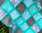 Baby Rag Quilt Cloud 9 Organic Fanfare Teal and Gray Elephants and Chevrons Baby Blanket