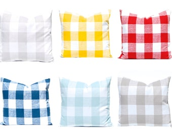 Buffalo Check Pillow Covers, Plaid Pillow Covers, Decorative Pillow Covers, Throw Pillow Covers, Red Pillows, Aqua Pillows, Tan Pillows