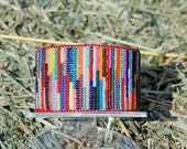 Free Shipping This Weekend! The Rag rug look colorful cuff bracelet