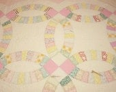 Pink Wedding Ring Shabby Vintage Quilt Fabric Piece - Exceptional Quilting - Large Piece