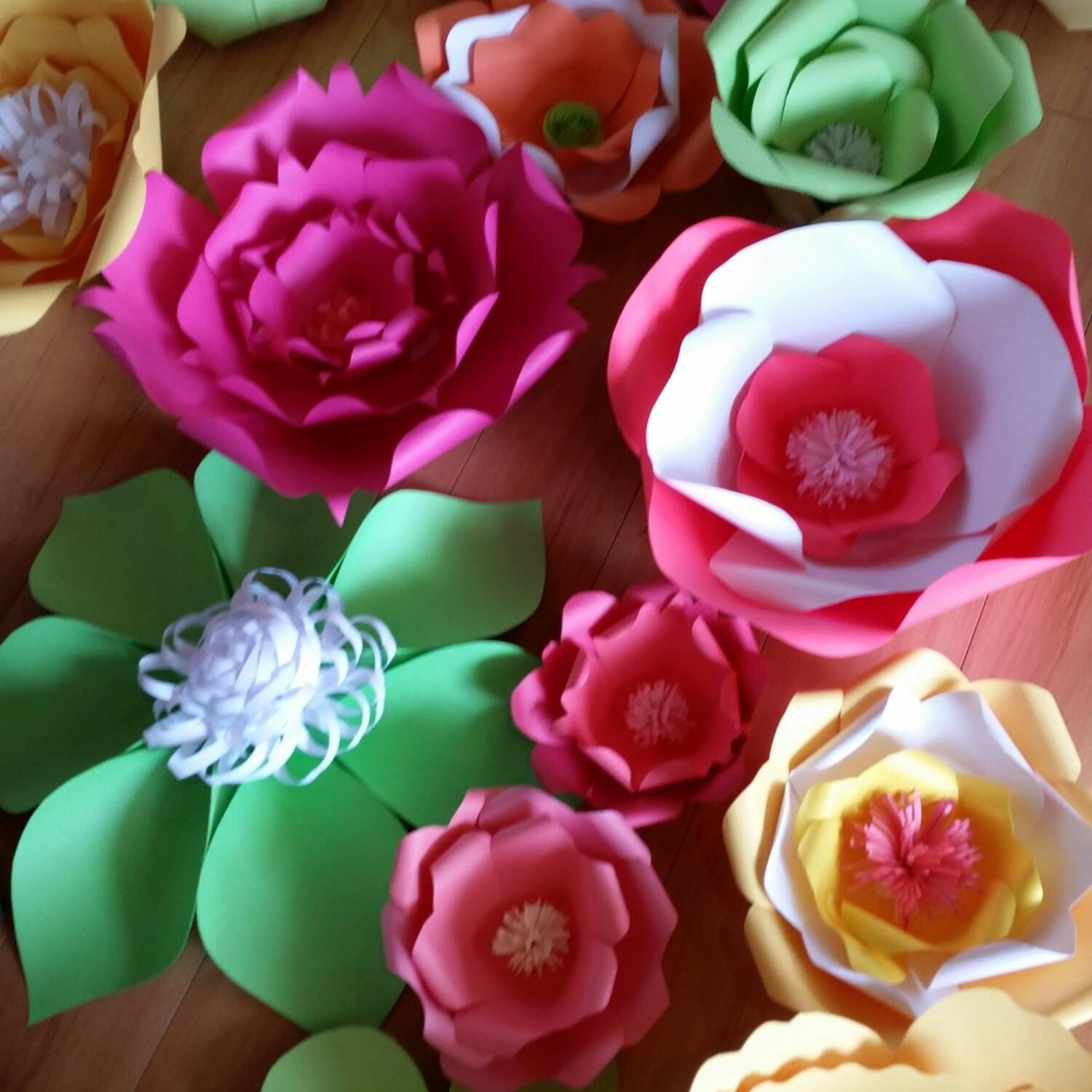 Mixed colors extra large paper flowers wall backdrop great for 12098 dhlflorist Choice Image