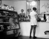Black and White Photography, Fine Art Print, Girl, Bakery, Old Fashioned, Retro, BW, Old Timey