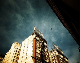 Los Angeles Photography, Fine Art Print, Architecture, Urban, City, Dramatic, Moody, Downtown L.A., City, Blue