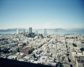 San Francisco Photography, Art Print, Lomography, Cityscape, Urban, Blue