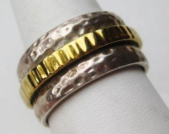 Vintage Mens Ring Gold Vermeil Sterling Silver Spinner Ring Band size 11