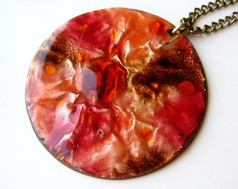 Vintage 60s Studio Jewelry Copper Red Pink Enamel Mid Century Modernist Pendant Necklace