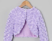 Lavender or pink  faux fur jacket for girls to go with a dress. Warm winter bolero for girls . Bridal fur coat shrug wrap white ivory cream