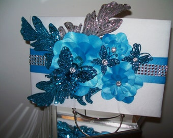 Wedding Guest Book in Monochromatic Teal Blue, Silver and White - 3D Floral Design with Butterflies