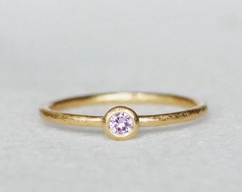 Pink Sapphire Gold Pebble Ring - Birthstone Ring - Choose 1.3mm Band or 1.6mm Band