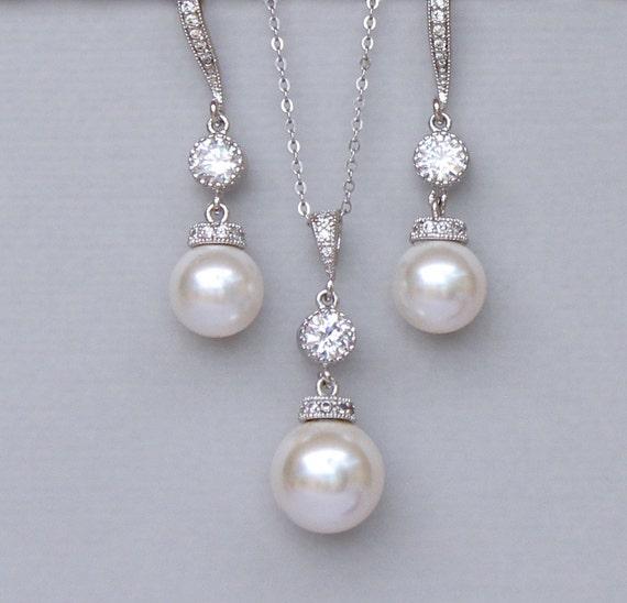 Ivory Pearl Bridal Jewelry Set Pearl Jewelry Set Pearl