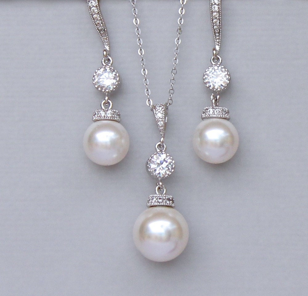 Ivory Pearl Bridal Jewelry Set Pearl Jewelry Set Pearl