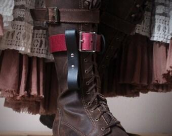 Unisex Leather Boot Garter - Red/Black - steampunk - burning man - festivals - apocalypse, Please read Description for size