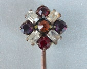 Hair Pin Czech Amethyst, Ruby, Amber, Clear Rhinestones Large Hair Jewelry Art Deco