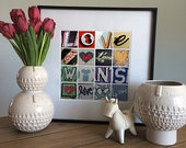 LOVE WINS-  Photographic Alphabet Collage Print - Wedding Gift