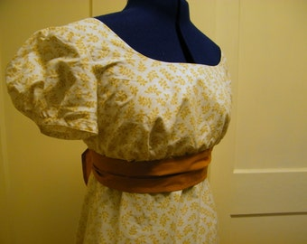 Floral Print Regency Dress, M