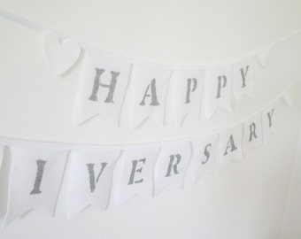 Happy anniversary banner , happy anniversary sign ,  50 anniversary party , glitter banner , felt garland