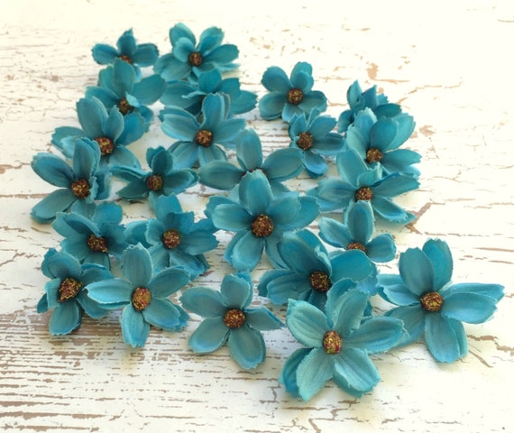 Silk Flowers - 24 Baby Cosmos in Turquoise Blue - TINY FLOWERS - Artificial Flowers