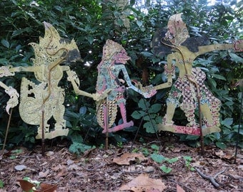 Trio of Wayang Indonesian Shadow Puppets