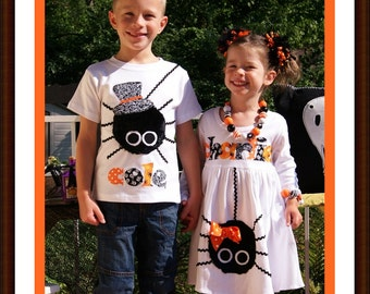 Sibling Itsy Bitsy Spider Matching Dress Set / 2 Piece Set / Matching Halloween Clothing
