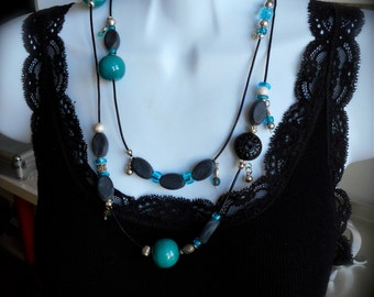 Multi Style Necklace/Bracelet, Leather, Vintage Beads, Boho, Modern, Turquoise, Silver, Lucite, Statement Jewelry, One of a kind.
