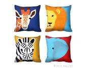 Any one Jungle animal throw pillow. Safari nursery decor. African animal throw pillow. 1 x Cushion for nursery. Kids room decor by WallFry