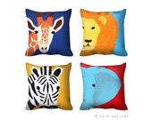 Any one Jungle animal throw pillow. Safari nursery decor. African animal throw pillow. 1 x Cushion for nursery. Kids room decor by WallFry