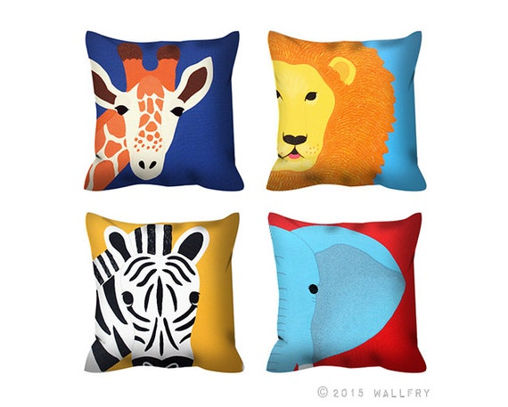 Jungle Animal Pillow : Any one Jungle animal throw pillow. Safari nursery decor.