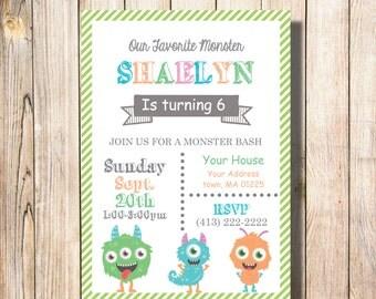 Monsters ,Invite, birthday, invitation, party
