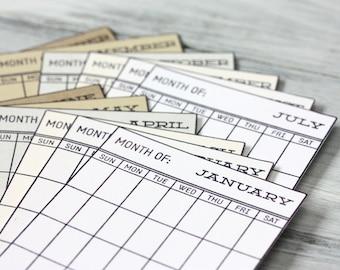 Snippets - Calendar Cards - Set of 12 - Neutrals - Project Life - Journaling - Scrapbooking - 3x4