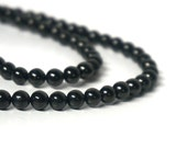 JET beads, 6mm round natural gemstone beads, full & half strands available  (1151S)