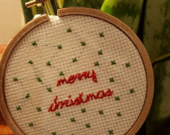 Merry Christmas Cross Stitch Ornament