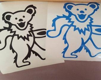 "8""x8"" Grateful Dead Dancing Bear Outline Vinyl Decal Graphic Sticker"