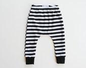 striped baby leggings / toddler harems / hipster baby toddler kid pants / black and white stripes