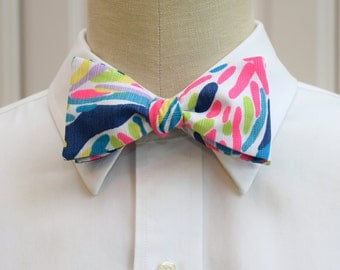 Man's Bow Tie in indigo Lilly Palm Reader, self-tie bow tie, groomsmen's gift, wedding party wear, neon pink navy blue,  groom bow tie,