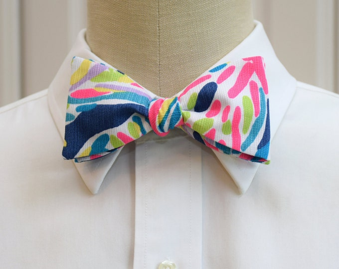 Men's Bow Tie, Palm Reader indigo/hot pink/lime Lilly print bow tie, groomsmen/groom bow tie, wedding bow tie, tux accessory, prom bow tie