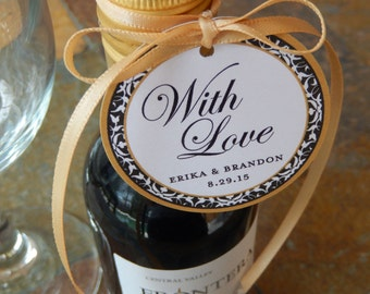 """50 Anniversary Custom 2"""" Thank You Tags - For Mini Wine or Champagne Bottles - Mason Jar Gifts - Cookie and Party Favors - With Love"""