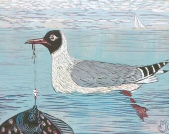 linocut, mackerel sky, seagull, fishing, ocean, sea , beach house, home interior, fisherman, landscape, seascape, blue, printmaking, gray