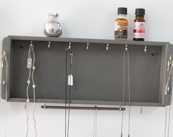 Jewelry Organizer - Jewelry Hanger - Necklace Organizer, Wooden Wall Hanging