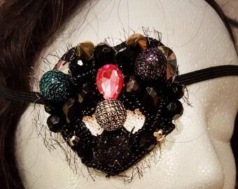 Chunky textured beaded jeweled punk eyepatch