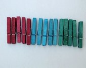 Colored Clothespins - red, teal, green wooden clothespins - craft supply - back to school - organization supply