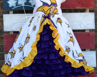 Girls football custom over the top ruffle FOOTBALL dress - ANY team!