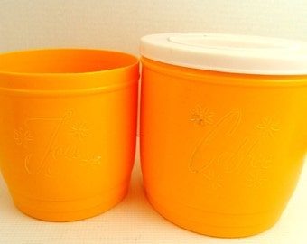 Coffee and Tea Goldenrod Canisters Sold As Is, tea missing lid, white lids