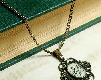 Treble Clef 1927 Sheet Music Necklace. Music Pendant. Music Jewelry.