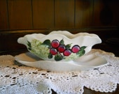 Hand Painted Porcelain Gravy Boat Wine Grapes and Snowball Flowers Design