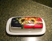 White Porcelain Hand Painted Butter Dish Americana Patriotic Sunflower Design