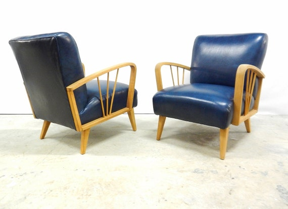 pair mid century leather club chairs heywood wakefield style