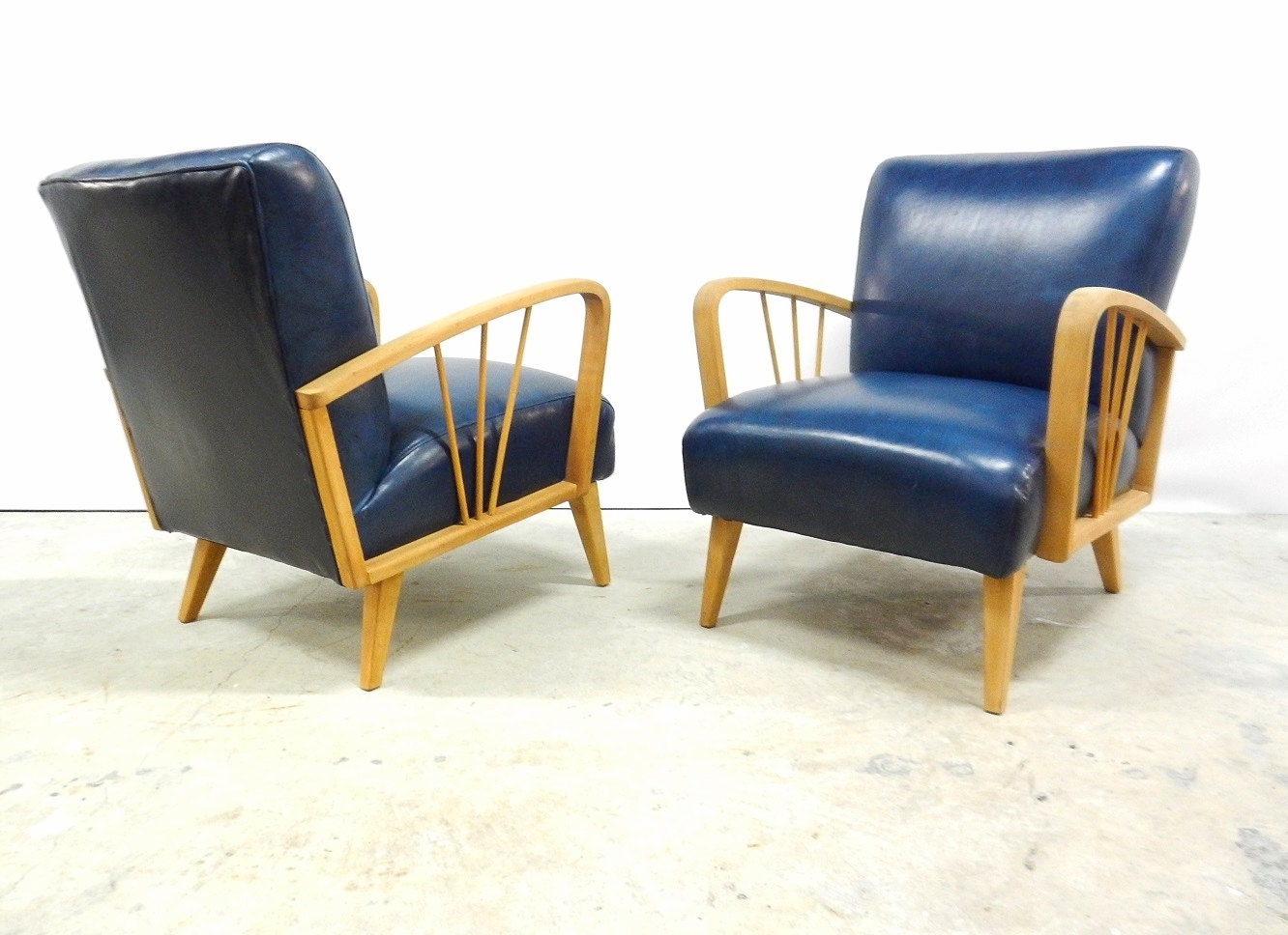 Pair Mid Century Leather Club Chairs Heywood By Rustygold73